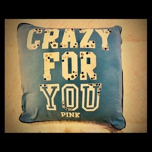 """VS PINK """"CRAZY FOR YOU""""PERIWINKLE BLU THROW PILLOW"""